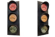 The Barrel Shack-The Crossing-Handmade Wall Clock 3 Faces Traffic Light Signal