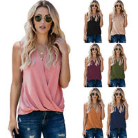 Summer Women Casual Solid V Neck Tank Top Sleeveless T Shirt Loose Blouse Tunic