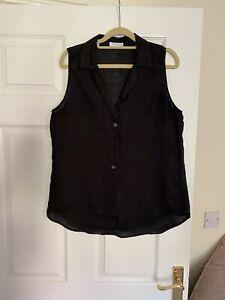 Equipment Femme Ladies Black Sleeveless Linen Blouse Shirt Size 12