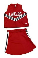 Squad One Real Red Cheerleading Uniform  Lakers Top Adult M Skirt Youth XL