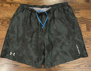 Under Armour Heat Gear Mens Lined Running Athletic Shorts XL Gray