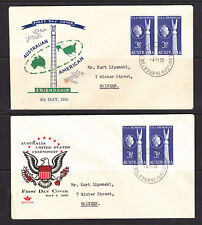FDCs: 1955 AUSTRALIA USA FRIENDSHIP X 2 COVERS WITH DIFFERENT CACHETS