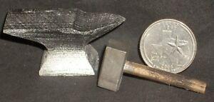 Dollhouse Miniature Anvil & Sledge Hammer 1:12 Horse Animal Shoeing Black Metal