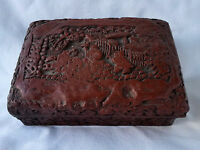 Antique  Chinese Lacquered Carved Cinnabar Box, Deeply Carved, Taoism Symbols