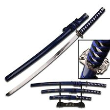 3 Piece Blue Black Dragon Samurai Katana Swords Sword Set With Stand 68LBL4-2