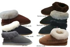 Women sheepskin slippers suede real natural fur buckle black grey brow full size