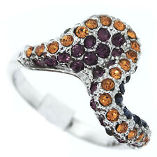 Color Crystal Stones Wave Sterling Silver 925 Ladies Ring Size 7