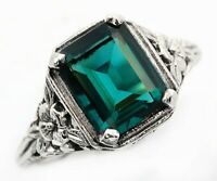 3CT Apatite 925 Solid Sterling Silver Edwardian Look Ring Jewelry Sz 6, U-34
