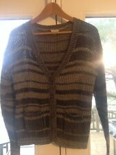 I Love H81 Forever 21 Black Gray Striped Knit Cotton Cardigan Top Sweater Sz M