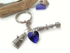 Doctor Who themed silver charm keyring time lord traveller party gift favors