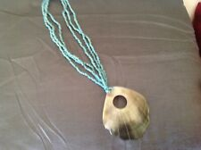 Turquoise bead and shell necklace