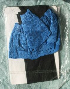 Vintage CERVIN MADONNA Stockings Black with Blue Lace tops XS BNIP