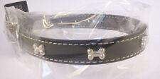 Collier Noir pour chien avec motifs: 4 Os - Tour de cou  28 - 36 cm