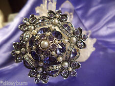 Exquisite JOAN RIVERS New Purple & Clear Crystal Faux Pearl  Pin / Brooch