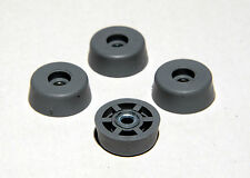 4 LARGE GRAY ROUND RUBBER FEET INDUSTRIAL, AMPS CASES - FREE S&H - MADE IN USA