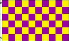 3'x5' CHECKERED FLAG PURPLE & YELLOW  OUTDOOR INDOOR BANNER PENNANT SPORTS 3X5