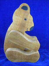 """Vintage Jointed Hand Made Wooden Bear Pose-able 16"""" Tall Standing"""