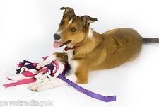 Pawstrading Shaggy Fleece Raggy Tug Bungee Handle dog puppy toy fun interactive