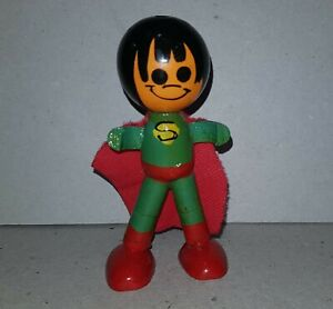 SUPERMAN  antique Wooden Figure ARGENTINA 1960 very rare 3,5 INCHES tall