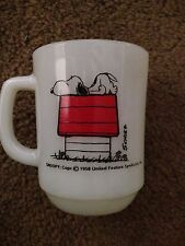 VINTAGE FIRE KING SNOOPY I THINK I'M ALLERGIC TO MORNING COFFEE MUG schultz