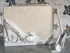 Quinceanera Sweet 15 16 High Heel Princess Cinderella Shoe Guest Book Pen Set