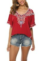 Women's Embroidery Mexican Bohemian Shirt Short Sleeve Ruffled Tops Tunic Blouse