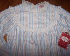 NWT Lanz of Salzburg Blue HEARTS Tyrolean Flannel Nightgown LACE XL 14/16 Girl