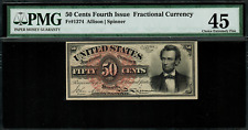 FR-1374 $0.50 Fourth Issue Fractional Currency - 50 Cent - Graded PMG 45