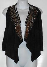 Covington Petite Ladies Embellished Open Front Knit Sweater Vest Soot SP NWT