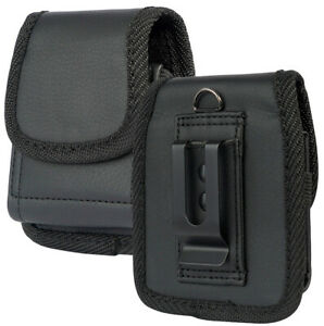 Black Vegan Leather Case Pouch Belt Loop Clip for Samsung Galaxy Z Flip 5G Phone