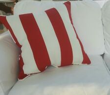 """20"""" Pillow Solarium Deck Red White Striped Piping Nautical 4th of July Free Ship"""