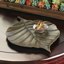 """large 16"""" brown Leaf floral decorative entry key bowl tray Metal stepping stone"""