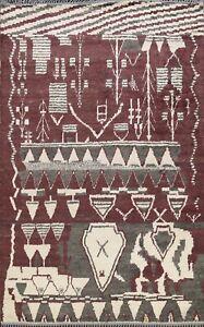 Vegetable Dye Authentic Moroccan Berber Oriental Rug Plush Wool Handmade 8'x10'