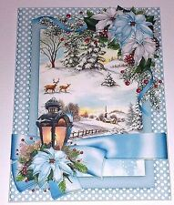Handmade Greeting Card 3D Christmas With A Christmas Scene And Lantern
