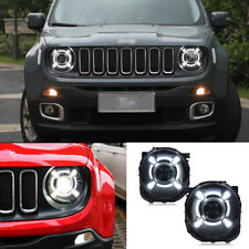 HID Headlights For Jeep Renegade 2015-2017 Front Bumper LED Bi-xenon Head Lamps