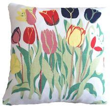 """Josef Frank Fabric Cushion Cover Tulips Printed White Linen Green Yellow Red 14"""""""