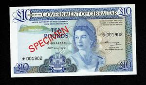 SPECIMEN RARE 1975 GIBRALTAR TEN 10 POUNDS BANKNOTE, ENGLISH, BRITISH, UNC? UK
