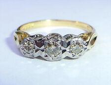 18ct Gold 0.30ct Champagne Diamond Three Stone Ring, Size O