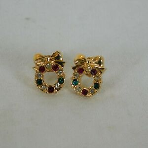 Avon Jewelry Holiday Earrings Surgical Steel Posts Candy Canes Christmas Wreaths