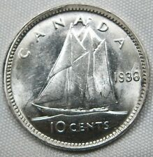 CANADA 10 cents 1938 UNC Bluenose luster #B64