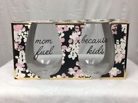 Stemless Wine Glasses Plastic Set 2 MOM FUEL & BECAUSE KIDS 13 oz New Gift Set