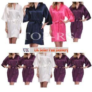 New Plain Satin Robe Dressing Gown Wedding Bride Sleepwear Kimono Robe UK