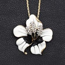 Betsey Johnson White Enamel Crystal Bauhinia Flower Pendant Necklace/Brooch Pin