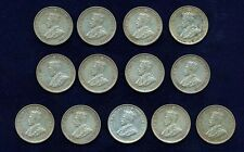 AUSTRALIA GEORGE V 1927-M  6 PENCE SILVER COINS, LOT OF (13), GRADES: VF TO aXF