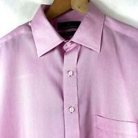 HART SCHAFFNER MARX 100% Pima Cotton Non Iron Pink Dress Shirt 17 33 $89