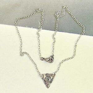 All Sterling Silver Triangle Charm Necklace Spiral Symbol INNER STRENGTH