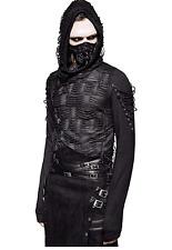Punk Rave Mens Hoodie Top Black Goth Dieselpunk Punk Dystopian Hooded Streetwear