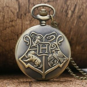 Retro Harry Potter Unisex Quartz Pocket Watch Hogwarts Crest Necklace Chain Gift