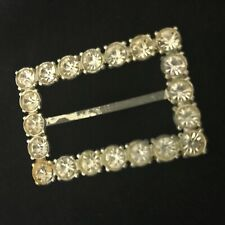 Vtg  Art Deco Clear Lg Rhinestone Silver Tone Belt Buckle Scarf Holder Pot Metal