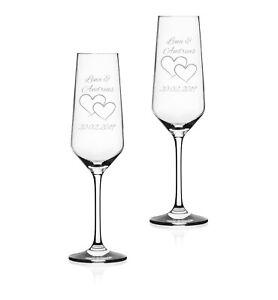 """2x Sektglas mit Wunschgravur """"Zwei Herzen"""" Geschenk Hochzeit Jahrestag Liebe"""